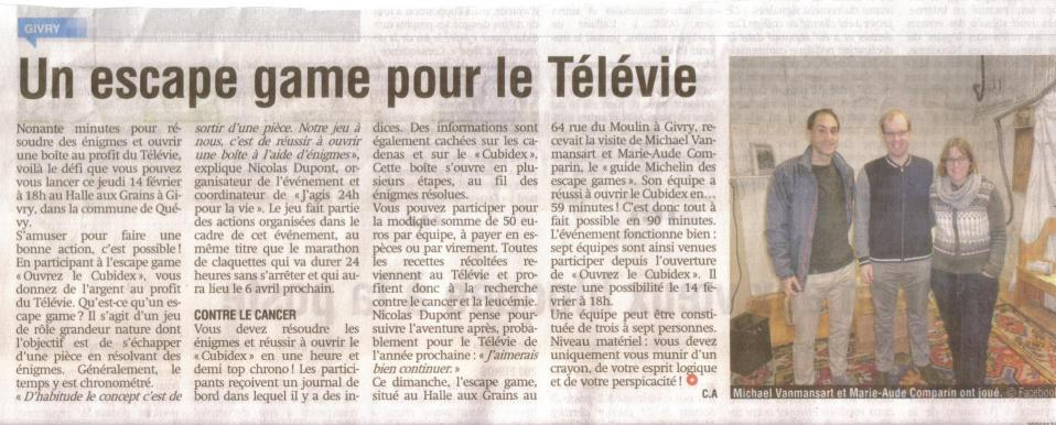 Un escape game pour le televie